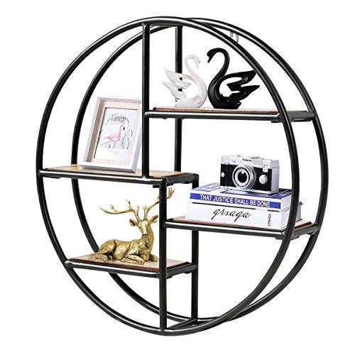 COSTWAY Wandregal Rund, Hängeregal mit 4 Böden, Metallregal Holz, kreisförmiges Bücherregal für Schlafzimmer, Wohnzimmer, Küche und Büro 55x55x11cm