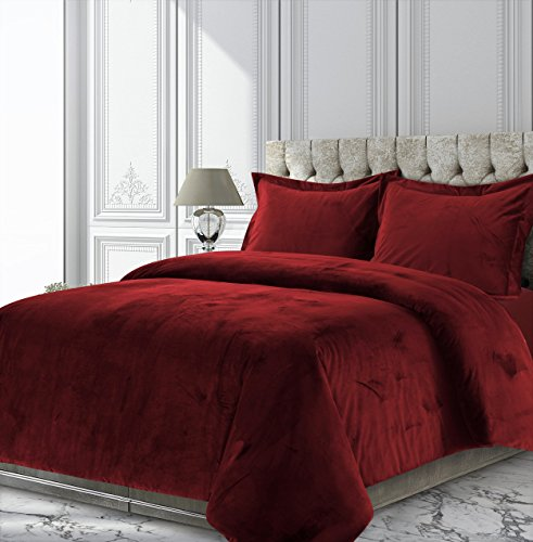 TRIBECA LIVING VENICEDUVETQUBU Venice Velvet Oversized Solid Duvet Set, Queen, Burgundy