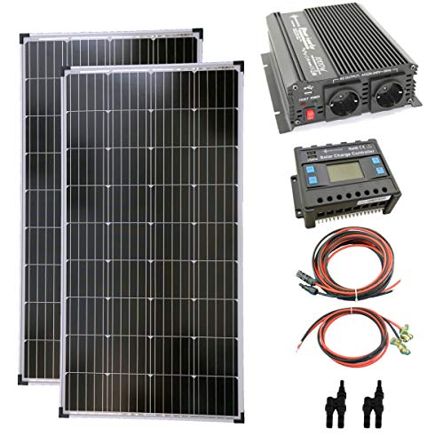 solartronics Komplettset 2x130 Watt Solarmodul 1000 Watt Wandler Laderegler Photovoltaik Inselanlage
