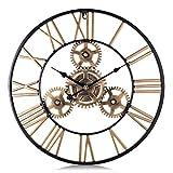 Lafocuse 60cm Reloj de Pared Grande Engranajes Steampunk Metal Reloj de Cuarzo Oro Industrial Silencioso con Números Romanos para Salon Bar