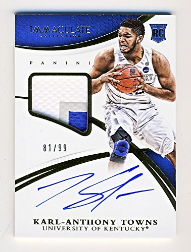 Karl-Anthony Towns 2015 Panini Immaculate Collegiate Autograph Patch Rookie RC 81/99