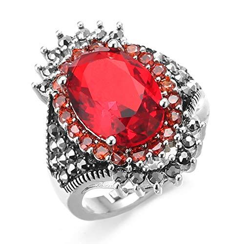 Halukakah Anillo de Diamantes para Hombres con Plata de Ley Tailandesa Rubí Bañada Auricular Diamantes de Laboratorio Piedra Preciosa de Ágata Roja Negra Tamaño Ajustable con Caja