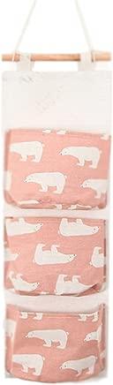 Aikesi 1pcs Hanging Storage bag Cartoon Fashion Cotton Linen Wall Bag Wardrobe bag with Pockets  Pink