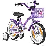 Prometheus Bicicleta para niños de 3 a 5 años | Bicicleta Infantil 4 años para niñas 14 Pulgadas con ruedines en Morado y Blanco