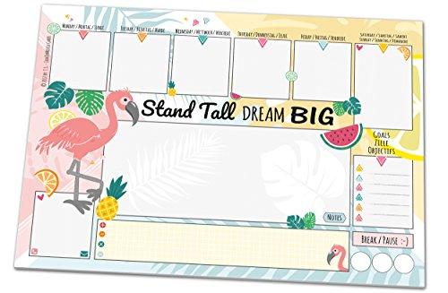 Schreibtischunterlage FLAMINGO, DIN A3 mit Flamingo-Motiv aus Papier, 25 Blatt, Schreibunterlage zum Abreißen (30 x 42 cm) für Kinder und Erwachsene mit Wochenplaner, Tagesplan, To-Do-Liste, Notizfeld