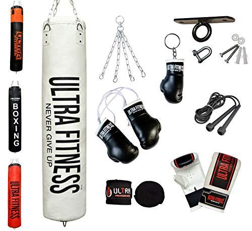 ULTRA FITNESS Heavy Boxing 4ft 5ft Lleno Sacos de Boxeo Set Guantes con Gancho de Techo, Blanco, 4ft