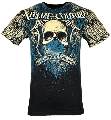 Xtreme Couture by Affliction Men T-Shirt Orthodox Skull Wings Biker Gym $40 (4XL) Blue