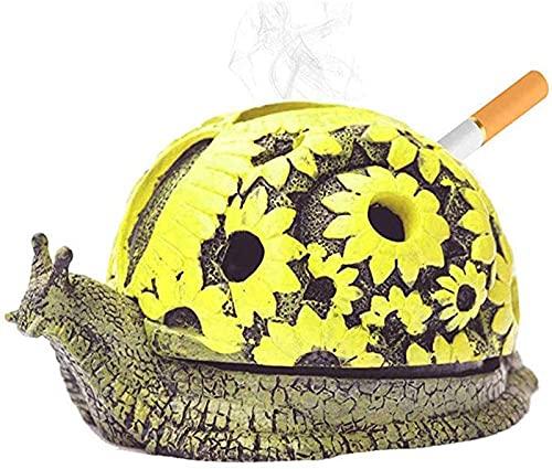 HLONGG Personalidad Resina Caracol Cenicero con Tapa De Animales Cigarrillos Ceniza Bandeja Ascendente Oficina Oficina Decorativo Fumar Accesorios Creativo Regalo,Snails