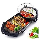 Tragbarer Hot Pot elektrischer Grill, Innen Smokeless Grillpfanne Barbecue Hot Pot Non Stick Dual...