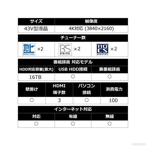 『LG 43V型 液晶 テレビ 43UH6500 4K 外付けHDD裏番組録画対応 2016年モデル』のトップ画像