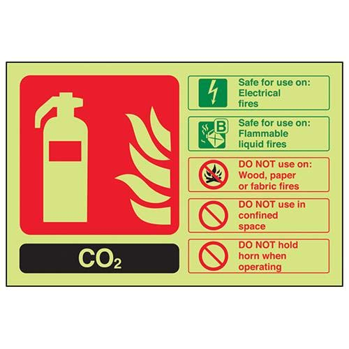 VSafety Glow In The Dark Carbon Dioxide Co2 Id Brandblusser - 200mm x 150mm - Zelfklevende vinyl