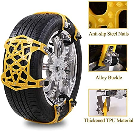 soyond Snow Chains Car Anti Slip Snow Tire Chains Adjustable Anti-Skid Chains Car Tire Snow Chains for Car//SUV//Trucks tire Width from 165-275mm//6.4-10.9