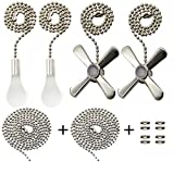 Iceyyyy Silver Ceiling Fan Pull Chain Set Including Extra 39.4 inches Copper Beaded Ball Fan Pull Chain...