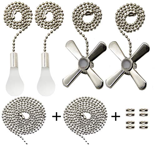 Iceyyyy Silver Ceiling Fan Pull Chain Set Including Extra 39.4 inches Copper Beaded Ball Fan Pull Chain Extension and Ceiling Fan Chain Connector