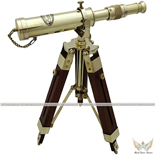 Arsh Nautical Marine Navy Nautical Brass Barrel Telescope with Adjustable Floor Tripod Stand