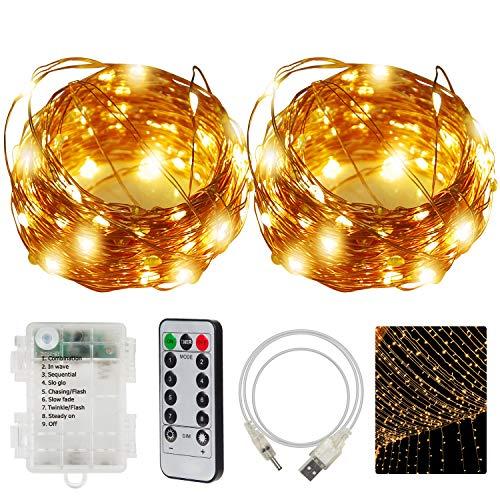 CPROSP 2er Lichterkette, 20M 200LEDs, Dimmbar, Wasserdicht, Warmweiß, Energieversorgung von Batterie oder USB, mit Fernbedienung Timer Modi 8 Beleuchtungsmodi, für Garten Zimmer