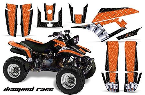 AMR Racing ATV Graphics kit Sticker Decal Compatible with Yamaha Warrior 350 All Years - Diamond Race Orange Black