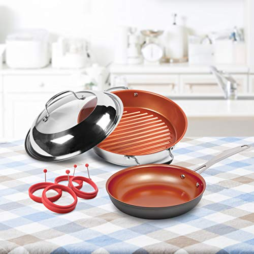 NuWave Non-Stick Bundle Stell Stainless Steel Grill, 9' Pan and 4 Piece Egg Ring, one size, bl979