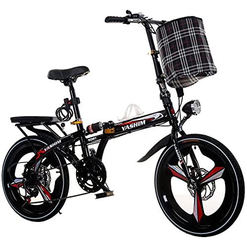 ZLYJ Bicicleta Plegable para Adultos, Bicicleta Plegable Unisex Bicicleta Plegable Ligera y Resistente, Bicicleta de Ocio con Desplazamiento de 20 Pulgadas Bicicleta Plegable de Ciudad B,20 in