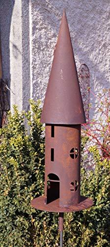 Edelrost Vogelhaus für Stab rund schmal 66cm Garten Deko Futterstation