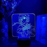 Lámpara de noche 3D Cool Kurapika Figurine Lámpara de noche Anime Hunter x Hunter Nightlight Otaku Regalo de Navidad Glow LED Sensor que cambia de color Decoración de la luz