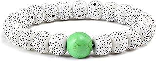 سوار مطرز، بوهيميا الأزياء النجوم القمر أساور 7 مم الحجر الطبيعي الخرز أساور مرونة سحر معصمه أساور النساء الهدايا - أبيض أخضر