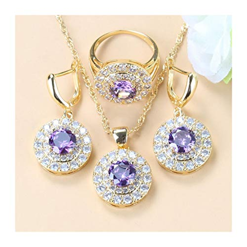 Wnkls Juego De Joyas De Tres Piezas De Cristal Púrpura Natural, Pendientes De Mujer/Collar Y Anillo Regalos De Joyería para Las Mujeres (Color : Purple 3PCS, Size : 8)