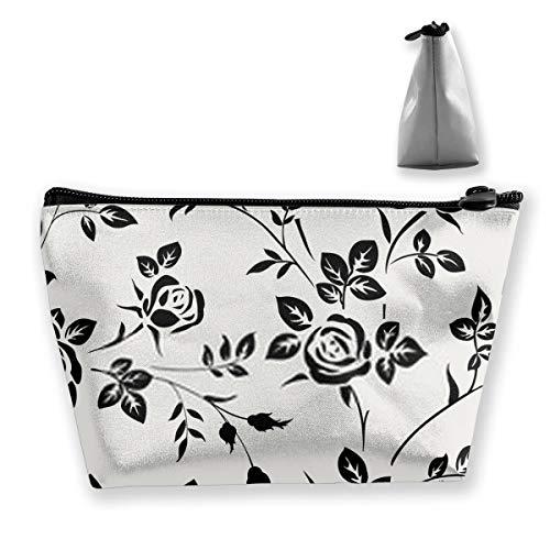 Silhouette rose noire sur fond blanc - Papier peint floral multifonction de voyage - Grande capacité