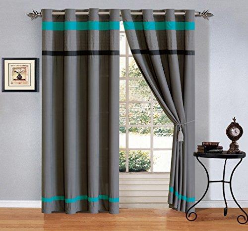 GrandLinen 4 Piece Teal Blue/Grey/Black Pleated Microfiber Curtain Set 108 inch Wide X 84 inch Long (2 Window Panels, 2 Ties)