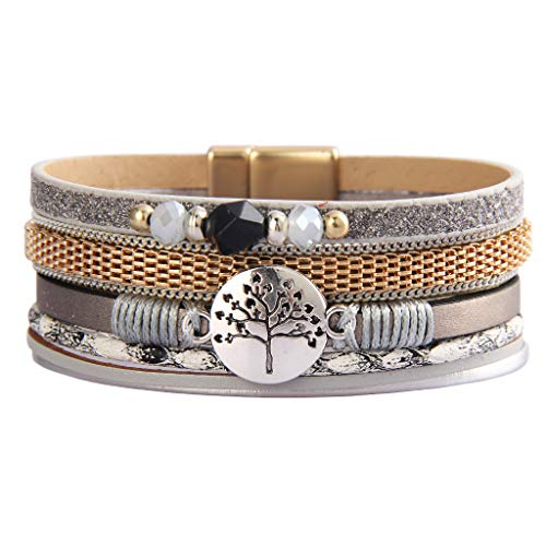 GelConnie Tree of Life Leather Wrap Bracelet Bohemian Cuff Bracelets Multi Strand Bracelet Magnetic Boho Bracelets Gold Plated Stackable Bracelets for Women, Sister, Girls