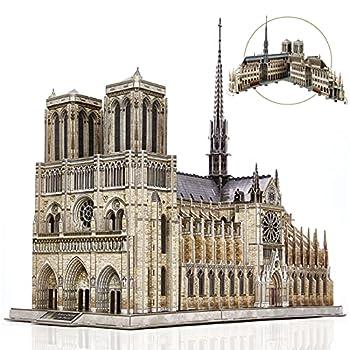 CubicFun 3D Puzzle for Adults Moveable Notre Dame de Paris Church Model Kits Large Challenge French Cathedral Brain Teaser Architecture Building Puzzles 293 Pieces