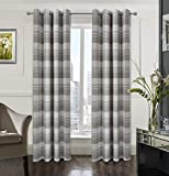 Alexandra Cole Check Plaid Textured Farmhouse Curtain for Bedroom Window Curtain Panels Set of 2 multiplaid-Color for Grey/Taupe/tan Brown and Beige 54x84 Inch