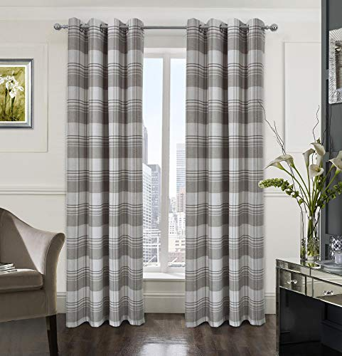 Check Plaid Textured Farmhouse Curtain for Bedroom Window Curtain Panels Set of 2 multiplaid-Color for Grey/Taupe/tan Brown and Beige 54x84 Inch