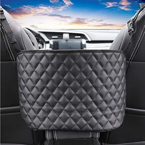 Wmbzxh Car Handbag Holder Front Seat PU Leather Storage Organizer Purse Holder Pockets Between Seat Automotive Pet Kid Barrier (Black)