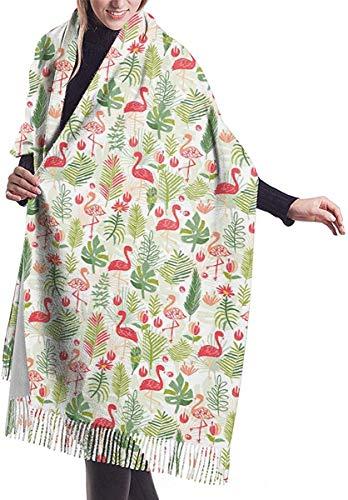 Bufanda de mujer de flamenco de flores tropicales,Moda impresa borla poncho capa,Cardigan Wrap Chal
