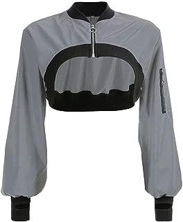 Xinvivion Women Sexy Long Sleeve Zipper Jacket Reflective Fashion Casual Cropped Tops Coat