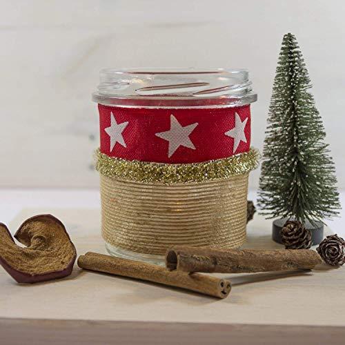 X MAS Windlicht GOLDBAND Naturdesign, Tischdeko, Weihnachtsdeko, Stimmungslicht, Geschenkidee