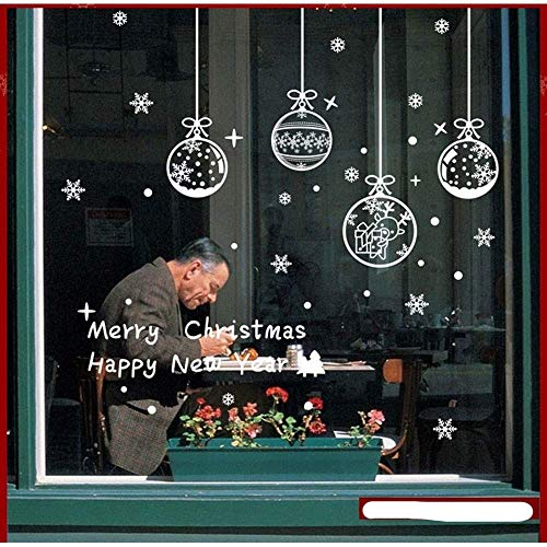 NLRHH 4 unids/Navidad Bolas de Nieve Pegatinas de la Ventana fijadas a...
