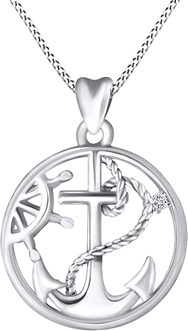 Round Shape White Cubic Zirconia 925 Sterling Silver Anchor with Heart /& Cross Pendant Necklace