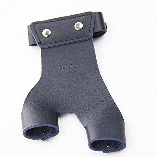 Mangobuy Caza Arco Flecha Tiro con Protector de Dedo Protector de Dedos de Piel Negro Armor