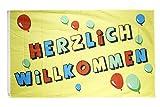 Fahne / Flagge Herzlich Willkommen + gratis Sticker, Flaggenfritze®