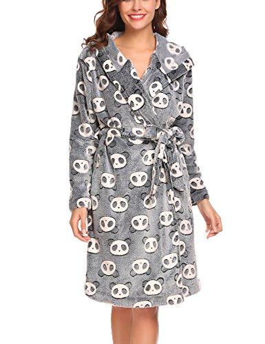 Untlet Damen Blumen Morgenmantel Fleece Badenmantel Saunamantel aus Teddyplüsch mit Pandamuster