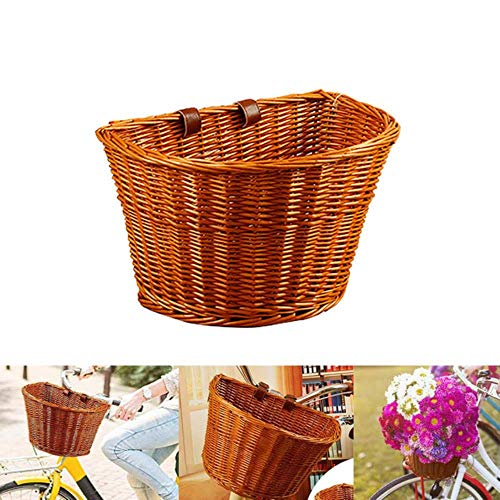 MKLS 2020 Bike Front Basket Retro Handmade Wicker Handlebar Pannier Cycling Carrying Holder Bicycle Basket Baggage Bag For Kids Adult,Honey Color