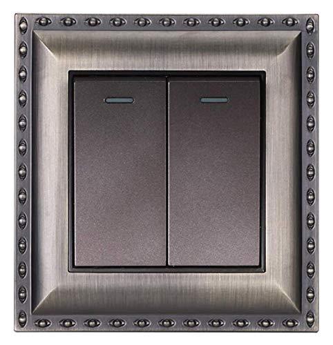 Interruptor de panel cepillado de bronce vintage Soltero o doble control de pared para el interruptor de balancín del panel de aleación de zinc de accesorios de zinc con la luz del indicador fluoresce