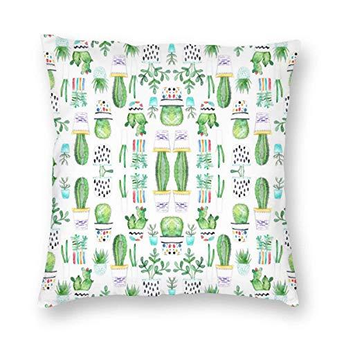 ~ Watercolour Succulents Cactus Home Decor Throw Pillow Cover, Lightweight Soft Plush Square Decorative Pillow Case 18x18 Inch Cushion Cover, Sham Stuffer, Machine Washable