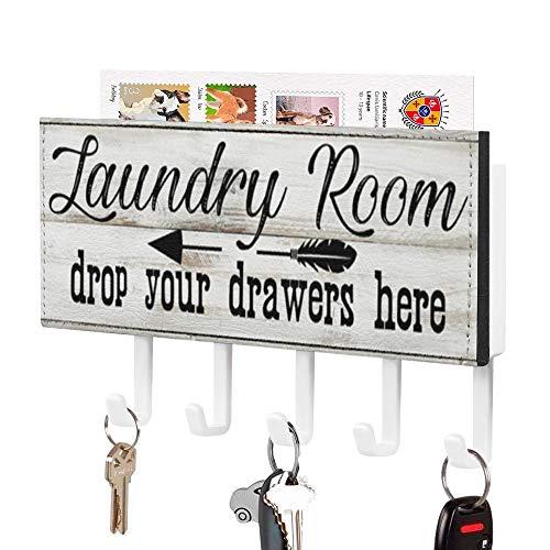 Soporte para llaves y correo, para colgar en la habitación de la colada, con 5 ganchos y otro estante de almacenamiento, organizador de llaves y clasificador de cartas para la entrada