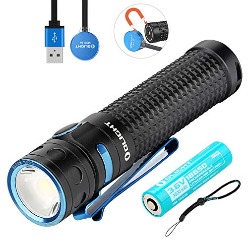 Olight Baton PRO linterna 2000 lúmenes / 132 metros blanco frío LED recargable linterna portátil, con 1 * 18650 batería + Tidusky funda de batería