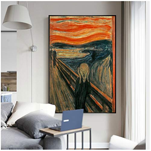 Edvard Munch The Scream Famous Canvas Art Paintings Reproductions Abstract Classic Scream - Póster de pared para decoración del hogar 60 x 80 cm.