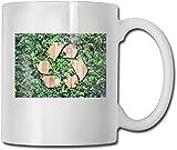 Taza divertida de café con texto en madera con icono de reciclaje en hojas verdes, taza de café, taza de té, 11 onzas, regalo perfecto para familia y amigos