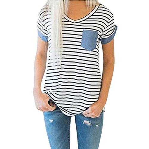 MRULIC Damen Tops Mode Frauen Kurzarm Striped Patchwork Bluse Kleidung T-Shirt (EU-44/CN-L, Weiß)